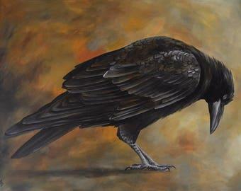 Autumn Raven painting on canvas - corvid painting - black bird original artwork - nevermore raven - realistic raven painting - corvidae art