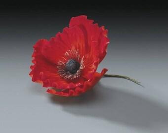 """Set of 3 Gumpaste Flowers 3"""" Red Poppy - Floral Fields"""