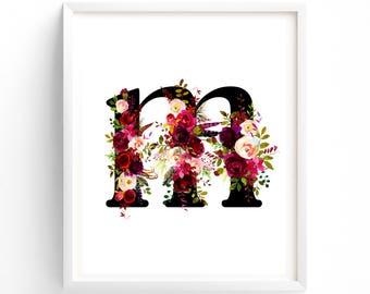 Letter M,  Nursery Wall Art, Nursery Prints, Printable Letter Monogram, Floral, Flower Lettering, Nursery Art, Baby monogram