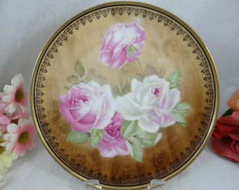 1880s Vintage Bavaria ZSC Zeh Scherzer & Co Pink Rose  Plate - Stunning