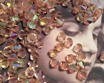 Vintage Swarovski 8mm Bicone Blush Rose AB Beads 8238ROS x6