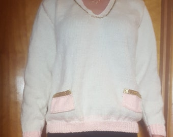 Ivory elegant sweater. Medium with gold trim. Soft and warm. As usual a one of a kind!