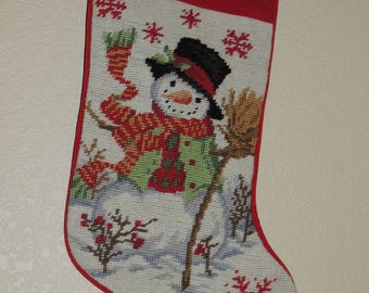JOHN Needlepoint Christmas Stocking with Snowman Motif