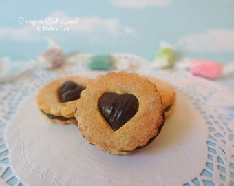 Fake Cookies Chocolate Sandwich Linzer Tart Round Heart