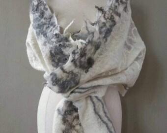felted scarf, bohemian shawl, shawl wool, bohemian pashmina, Handgevilte pashmina, wedding, Cobweb felt, boho shawl, Christmas gift