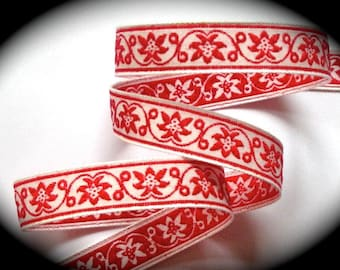 "Vintage Woven Ribbon -  5/8"" x 5 yds  Natural and Red - Floral"