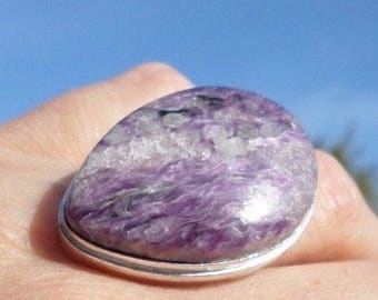RING 925 sterling silver and CHAROITE (BA104)