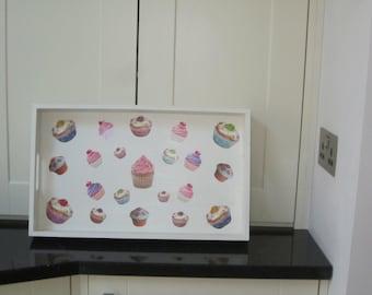 Cupcake decoupage decorated tray