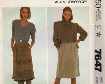 "McCalls 7647 Front wrap skirt buttoned at side soft pleats pocket border print Size 16 Waist 30"" uncut"