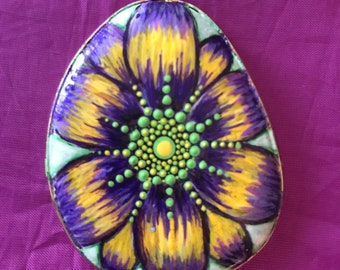 Mandala stone, hand painted, dot art, painted rock, painted stone, pendant