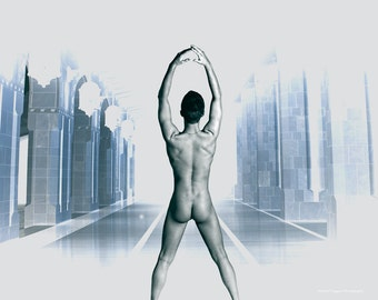 Shaping Reality, Fine Art Nude Male Photo Print by Michael Taggart Photography dream surreal black white blue butt hall illusion real
