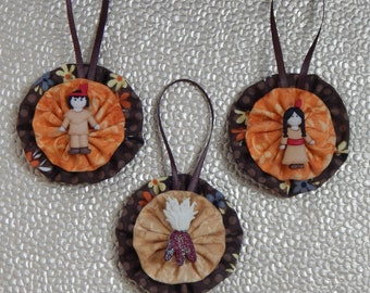 Little Indian Thanksgiving ornament set - set of 3