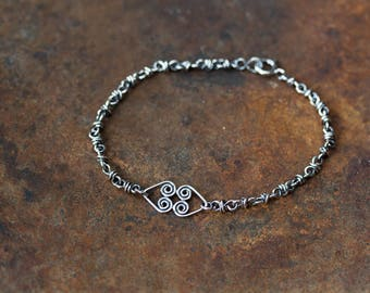 Wire Wrapped Chain Bracelet With Celtic Hearts Link, Layering Bracelet in Solid Sterling Silver, Artisan Handmade Jewelry