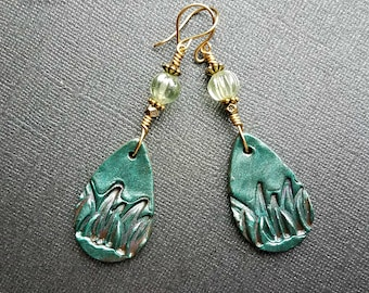 Green leaf polymer clay earrings with green czech glass on non tarnish gold wire//gold polymer clay earrings