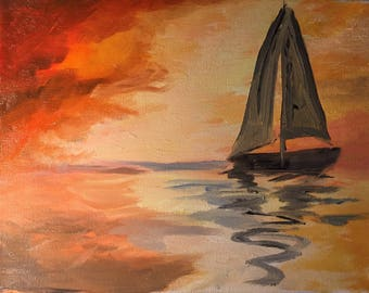 "Sailboat at Sunrise - Original Impressionist 8x10"" Oil Painting"