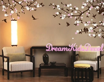 Cherry Blossoms Wall Decal, Nursery Wall Decal, wall decals living room, wall sticker, flower wall decal-DK211