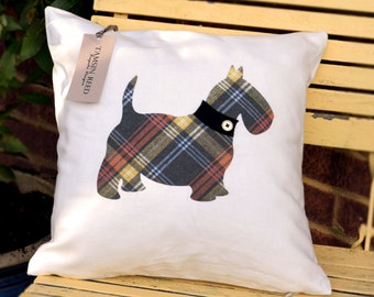 """HALF PRICE! Scottie Dog Cushion - Tartan, Pink Polka, Green Polka, Blue Collage,  """"The Scotties of McDawg"""" Collection, Tamsin Reed Designs"""
