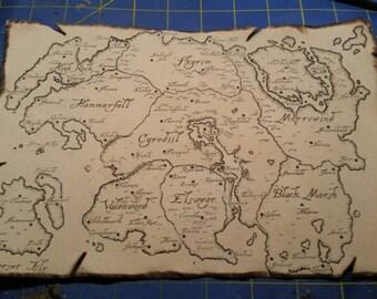 Map of Tamriel, Skyrim, Morrowind, Oblivian, Elder Scrolls Inspired Prop Replica