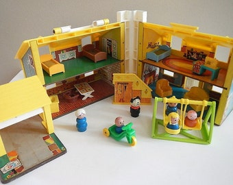 Vintage Fisher Price Play Family House, furniture, people - 1969, #952 - blue, yellow, little people, child's, toy, kids, children, retro