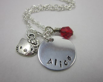 Hello Kitty Necklace. Little Girl Custom Necklace. Name Necklace. Kitty Jewelry. Personalized Necklace. Hand Stamping. Birthstone Necklace