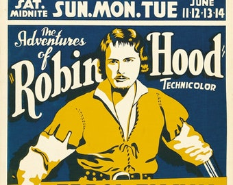 The adventures of Robin Hood 1938  Errol Flynn movie poster reprint 19x12.5 inches #4