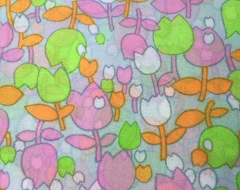 Fabulous 1960's MOD Bright Colored Sheer Tulip Fabric ~ Authentic Vintage Fabric At Hope Knows Vintage