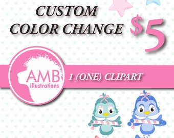 Custom color change for 1 (one) non-exclusive clipart, custom color for purchased clipart, re-colour AMBillustrations, Commercial, AMB-007