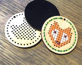 Fox Cross Stitch Pendant