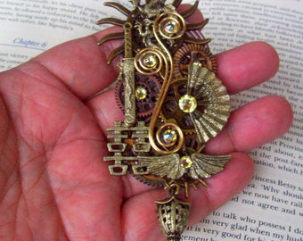 Steampunk Pin (P735-2) Oriental Brooch or Hat Adornment, Asian Inspired, Brass Elements, Gears and Crystals, Tie Tack Pins
