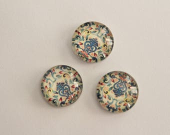 Glass Cabochons - Multi Color Flourish Design . 12mm (3)