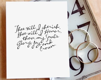 "50% Off! Fairest Lord Jesus - Thee Will I Cherish, Thee Will I Honor  |  8x10"" Calligraphy Print, Hymn Lyrics, Hymn Art Print, Home Decor"