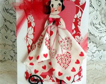 Valentine Dolly Dingle Paper Doll Hankie Card