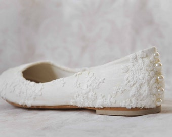 Wedding Shoes Lace Wedding Shoes Flats Pearl Shoes Lace Bridal Shoes Lace Flats  Wedding Flats Shoes Embellished Shoes Vintage Wedding Shoes