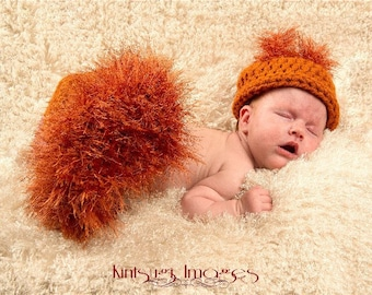 Newborn Baby SQUIRREL Hat and DIAPER Cover Photo Prop - Boy - Girl - REBORN Doll costume - Made to order - Rust