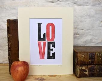 LOVE letterpress print, romantic red and black love print