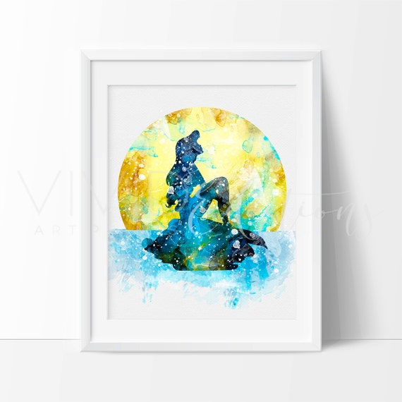 Mermaid Gifts Mermaid Decor Mermaid Art Print Mother S: Little Mermaid Girl Nursery Art Print Ariel Disney Watercolor