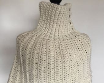 Chunky Crochet Caplet Infinity Scarf - Fisherman