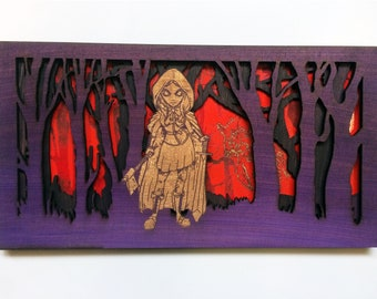 Dark Red Riding Hood Wall Picture Hanging Carved Art Gothic Werewolf Purple