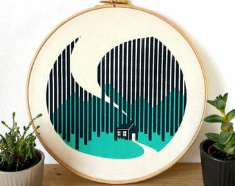 Cabin cottage canvas screen print forest woods art print in embroidery hoop by Or8design and Button&Stitch