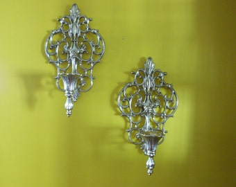 Regency Style Metal Gold Tone Sconces, Wall Candle Holders, Sconces, Wall Decor, Metal Gold Tone Sconces