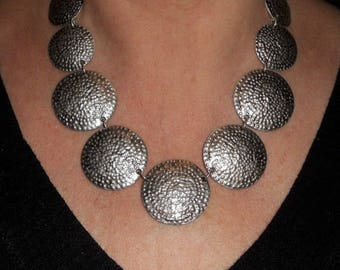 Silver statement necklace, boho chic chunky necklace, metal necklace, necklaces for women, mothers day gift, silver jewelry, metal jewelry