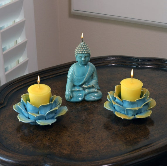 Witness Buddha Candle and Turquoise Blue & Gold Porcelain Lotus Flower Candle Holder Meditation Set
