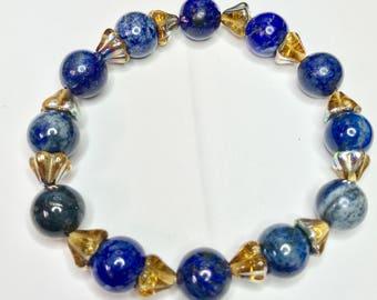Stretch Bracelet made with Round Lapiz and Amber AB (Aurora Borealis) Finish Czech Glass Flower Beads Medium Size 7