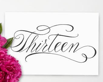 Table Number Printables Handwritten calligraphy numbers 1-24