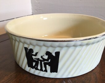 Hall Pottery - Silhouette Tavern Souffle Dish Baker - French Fluted Round Baking Dish - 2 Available
