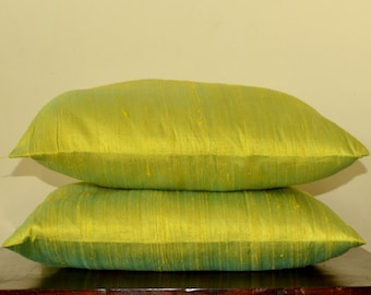 Spring Green with Cyan pure Dupioni silk cushion cover / code 277/12X12, 12x16, 12x20, 14x20, 14x24, 16x16, 18x18, 20x20, 22x22, 24x24