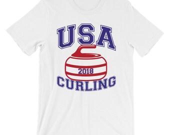 USA Curling T-shirt Winter Sports Tee