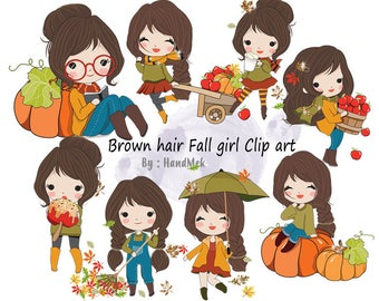 Brown hair girl , Fall girl clipart instant download PNG file - 300 dpi