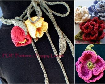 PDF Knitting Pattern Flower Lariat Set - Poppy Love Lariat, Peony Flower, Rose Flower