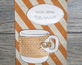 Wrm Hugs, Cozy Wishes Distressed Orange handcrafted card-CBC-123117-28
